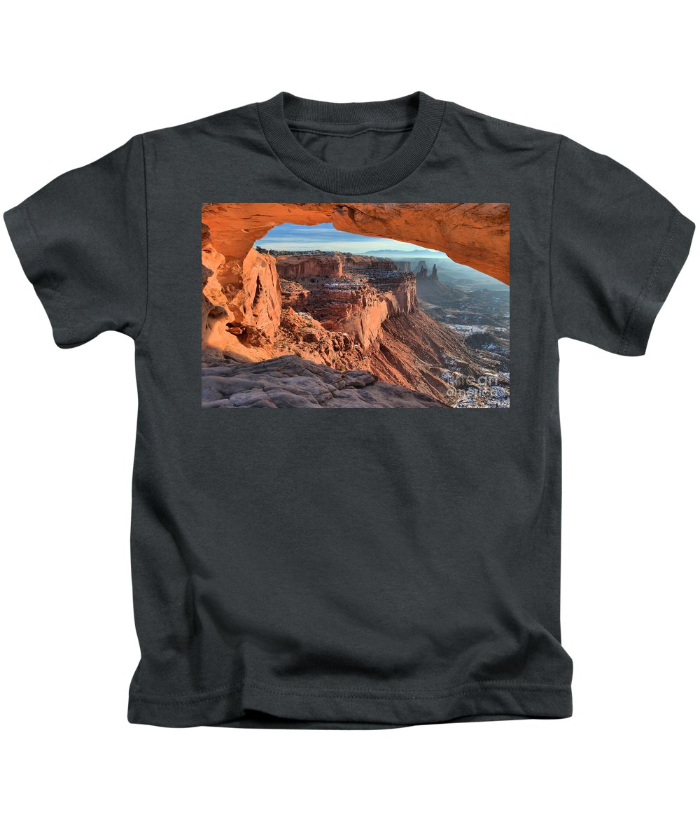 Mesa Arch Sunrise Kids T-Shirt featuring the photograph Framed Canyon by Adam Jewell