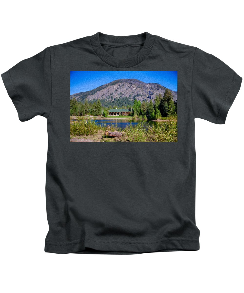 North Cascades Kids T-Shirt featuring the photograph Freestone Inn Lakeside View by Omaste Witkowski