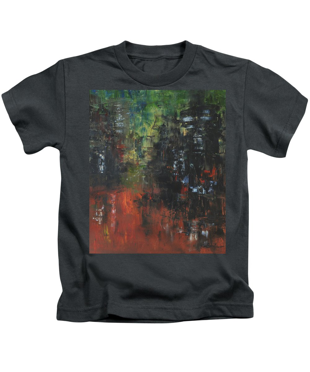Cityscape Kids T-Shirt featuring the painting Friday Night by Kim Sobat