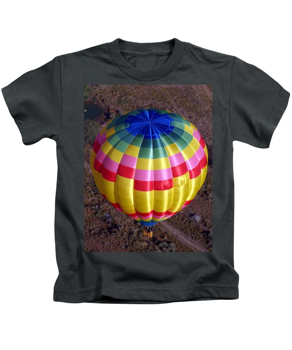 Hot Air Balloon Kids T-Shirt featuring the photograph From Above by Mary Rogers