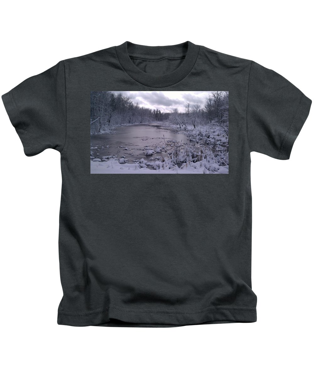 Frozen Kids T-Shirt featuring the photograph Frozen Pond by Joshua Thompson