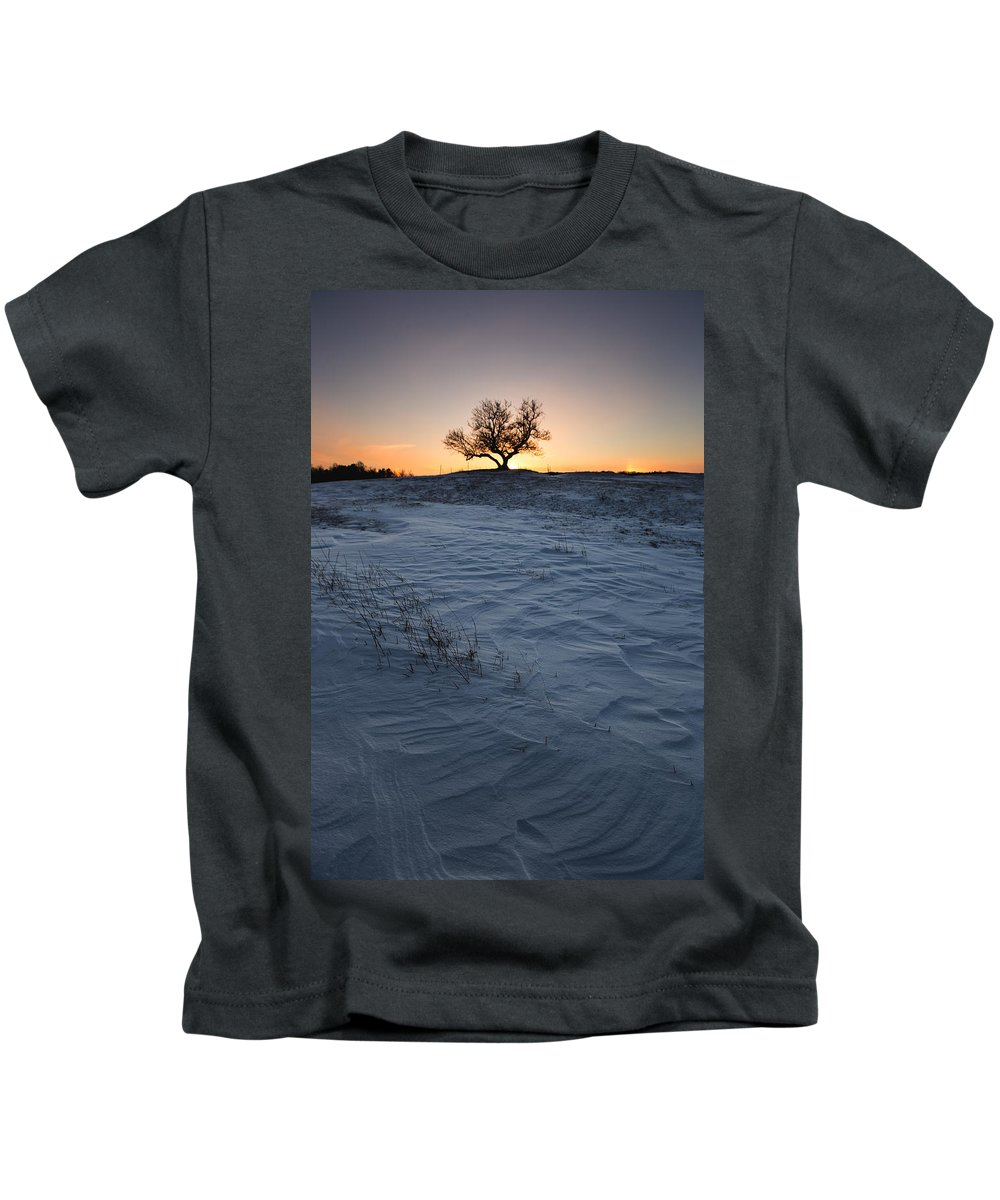 Lone Tree Kids T-Shirt featuring the photograph Frozen Tree Of Wisdom by Aaron J Groen