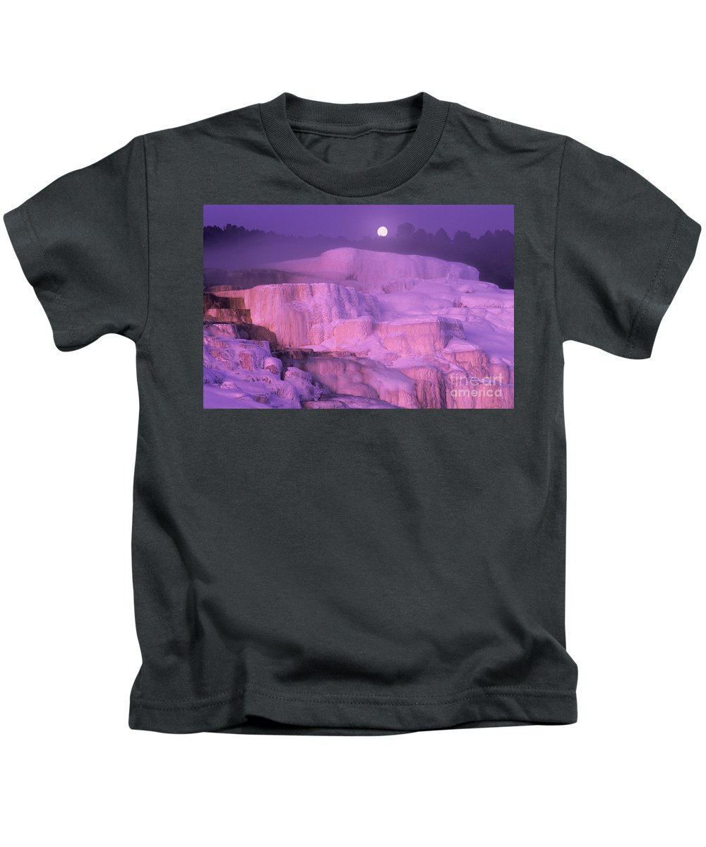 North America Kids T-Shirt featuring the photograph Full Moon Sets Over Minerva Springs On A Winter Morning Yellowstone National Park by Dave Welling