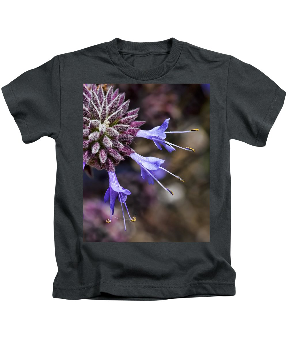 Macro Flowers Kids T-Shirt featuring the photograph Fuzzy Purple Detail 2 by Kelley King
