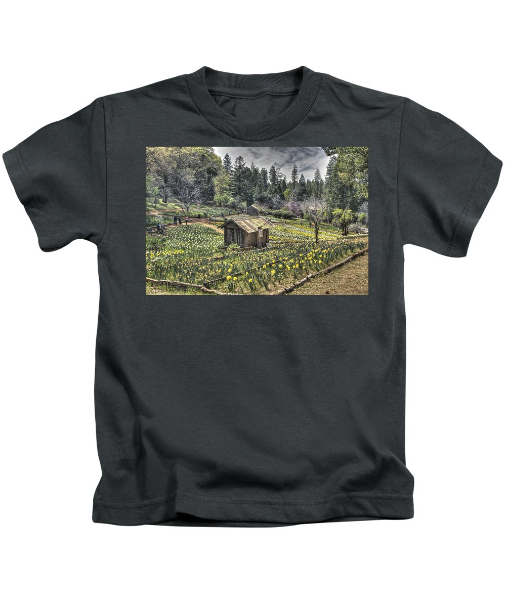 Amador Kids T-Shirt featuring the photograph Garden Houses On Daffodil Hill by SC Heffner