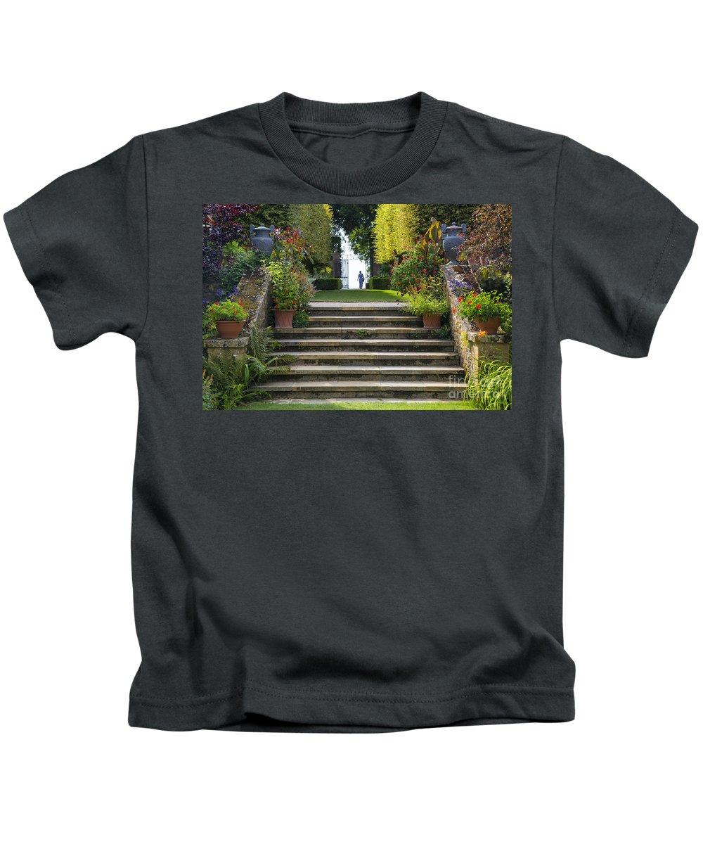 Bushes Kids T-Shirt featuring the photograph Garden Steps by Brian Jannsen