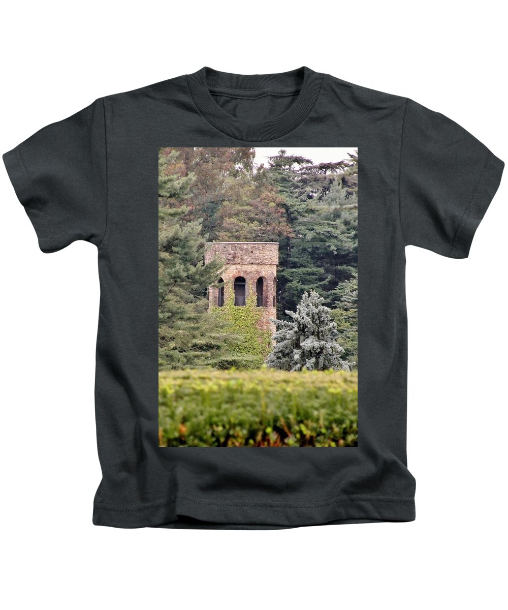 Garden Kids T-Shirt featuring the photograph Garden Tower At Longwood Gardens - Delaware by Kim Bemis