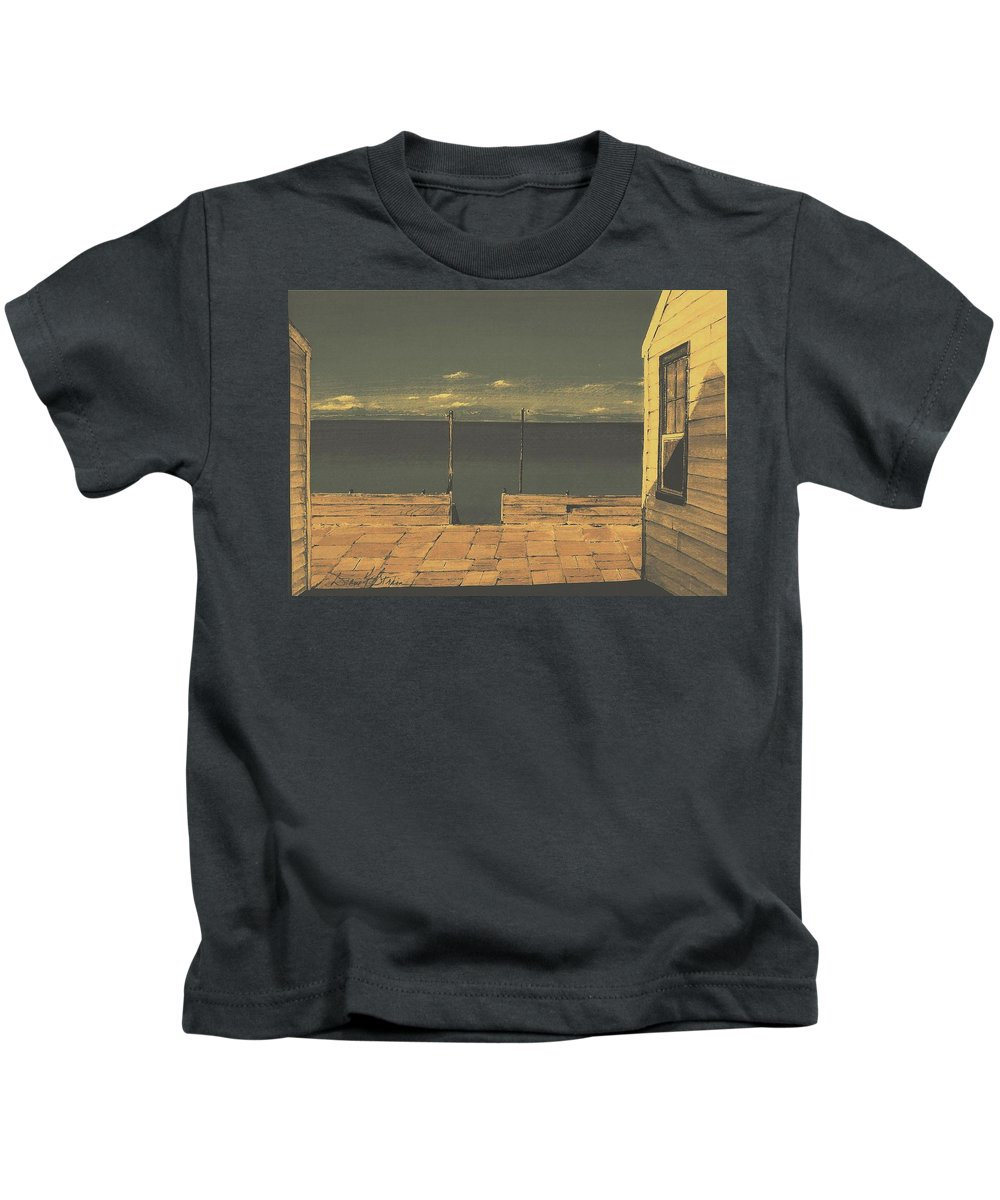 Stairs Kids T-Shirt featuring the painting Gateway To The Sea by Diane Strain