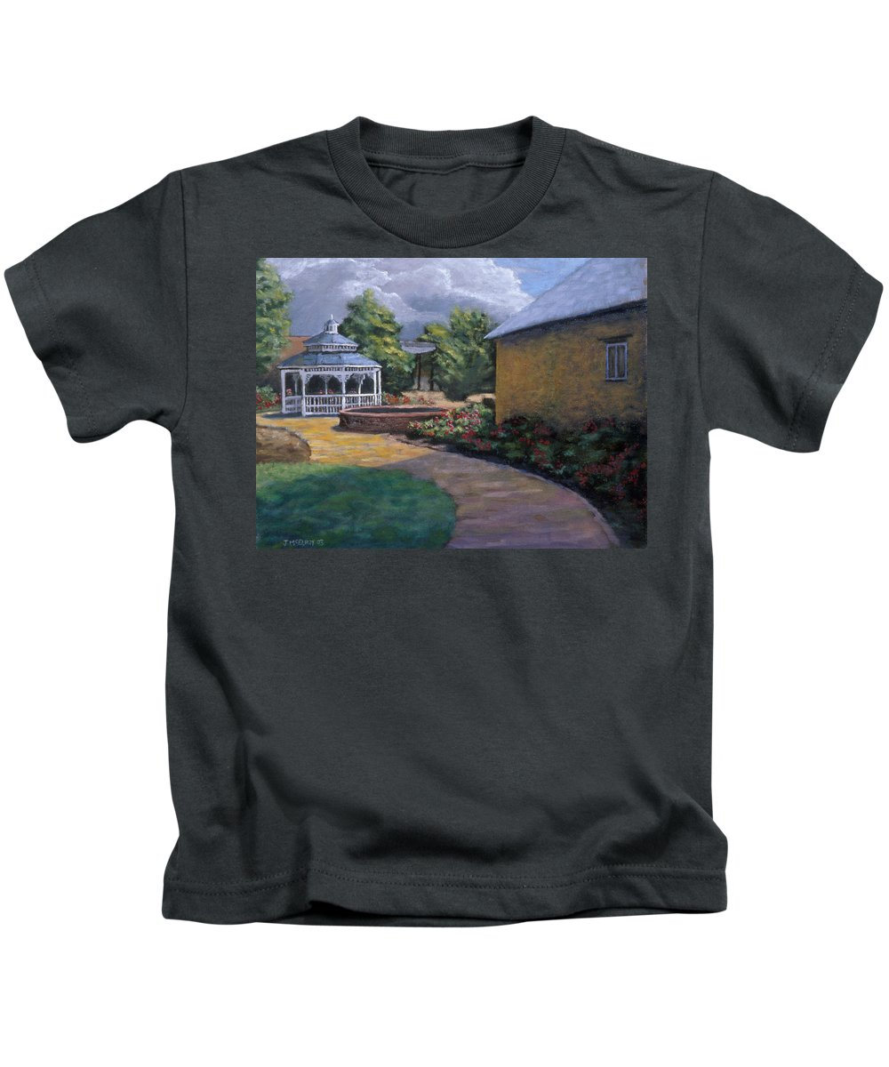 Potter Kids T-Shirt featuring the painting Gazebo In Potter Nebraska by Jerry McElroy