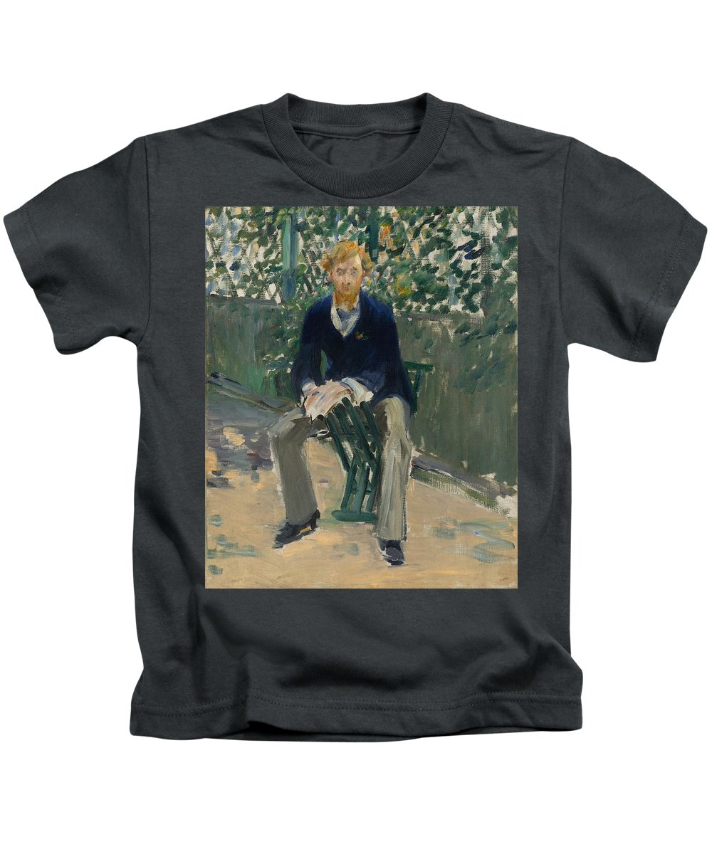 1879 Kids T-Shirt featuring the painting George Moore In The Artist's Garden by Edouard Manet