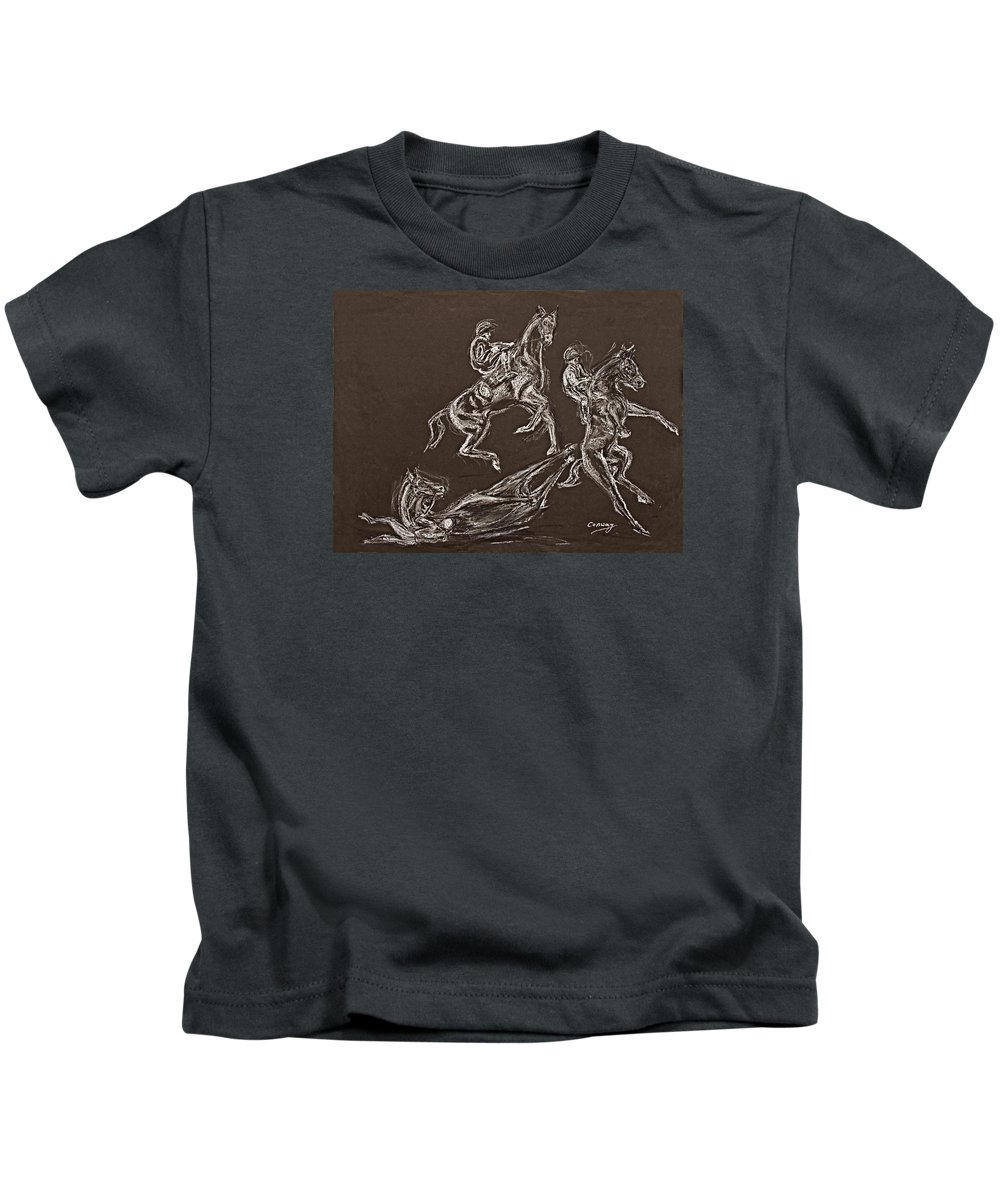 Rearing Horse Kids T-Shirt featuring the drawing Ghost Riders In The Sky by Tom Conway
