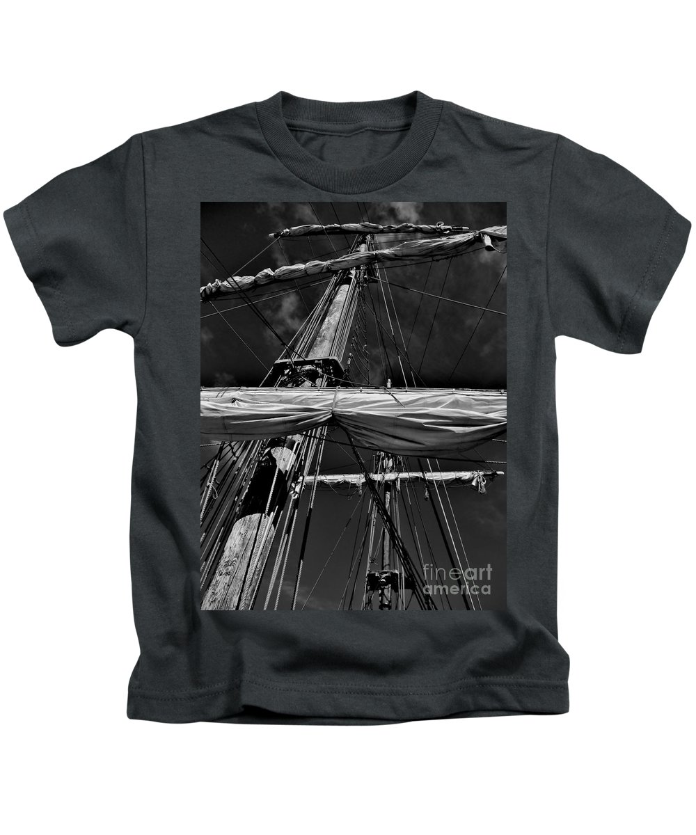 Black And White Kids T-Shirt featuring the photograph Ghost Ship by Amar Sheow