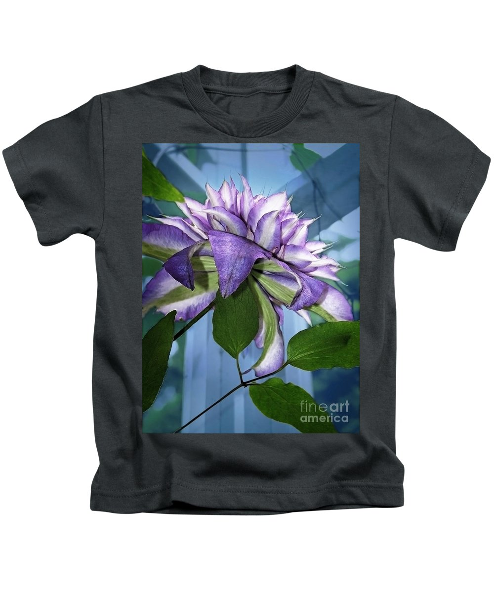 Flowers Kids T-Shirt featuring the photograph Gift Of Clematis by Ellen Cotton