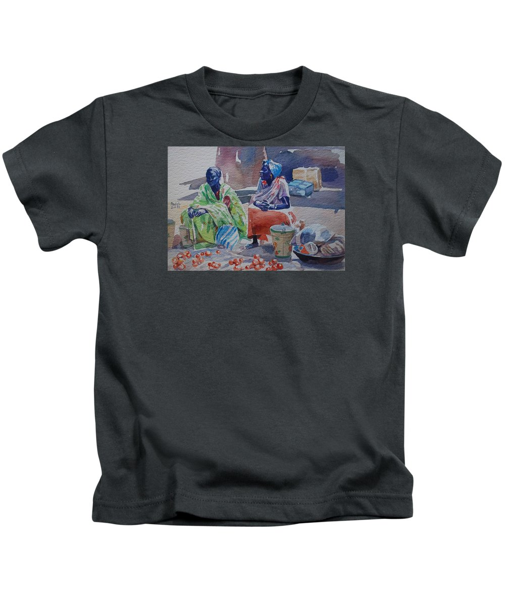 Girls Sellers Kids T-Shirt featuring the painting Girls Sellers by Mohamed Fadul