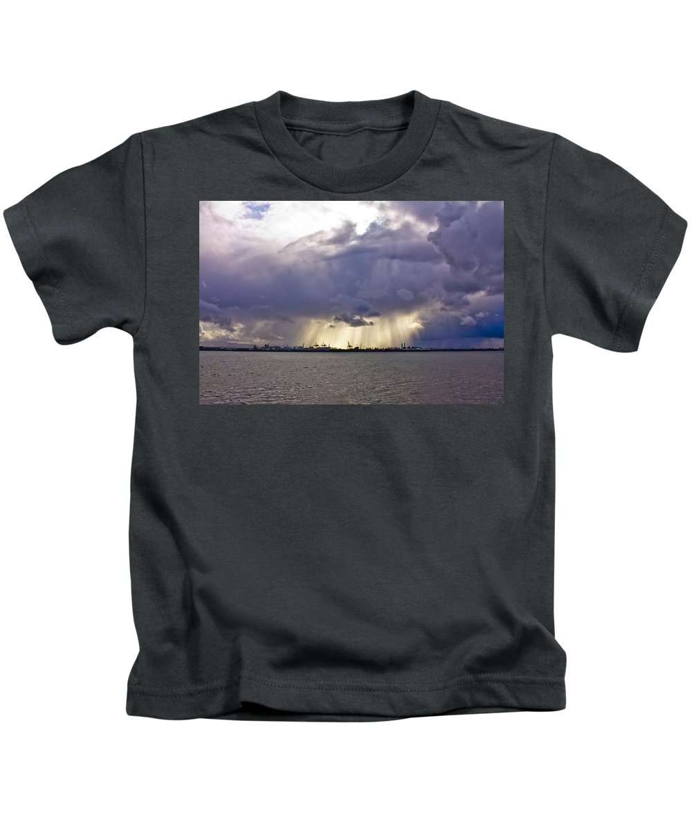 Dublin Kids T-Shirt featuring the photograph Glare Over Clontarf by Alex Art and Photo