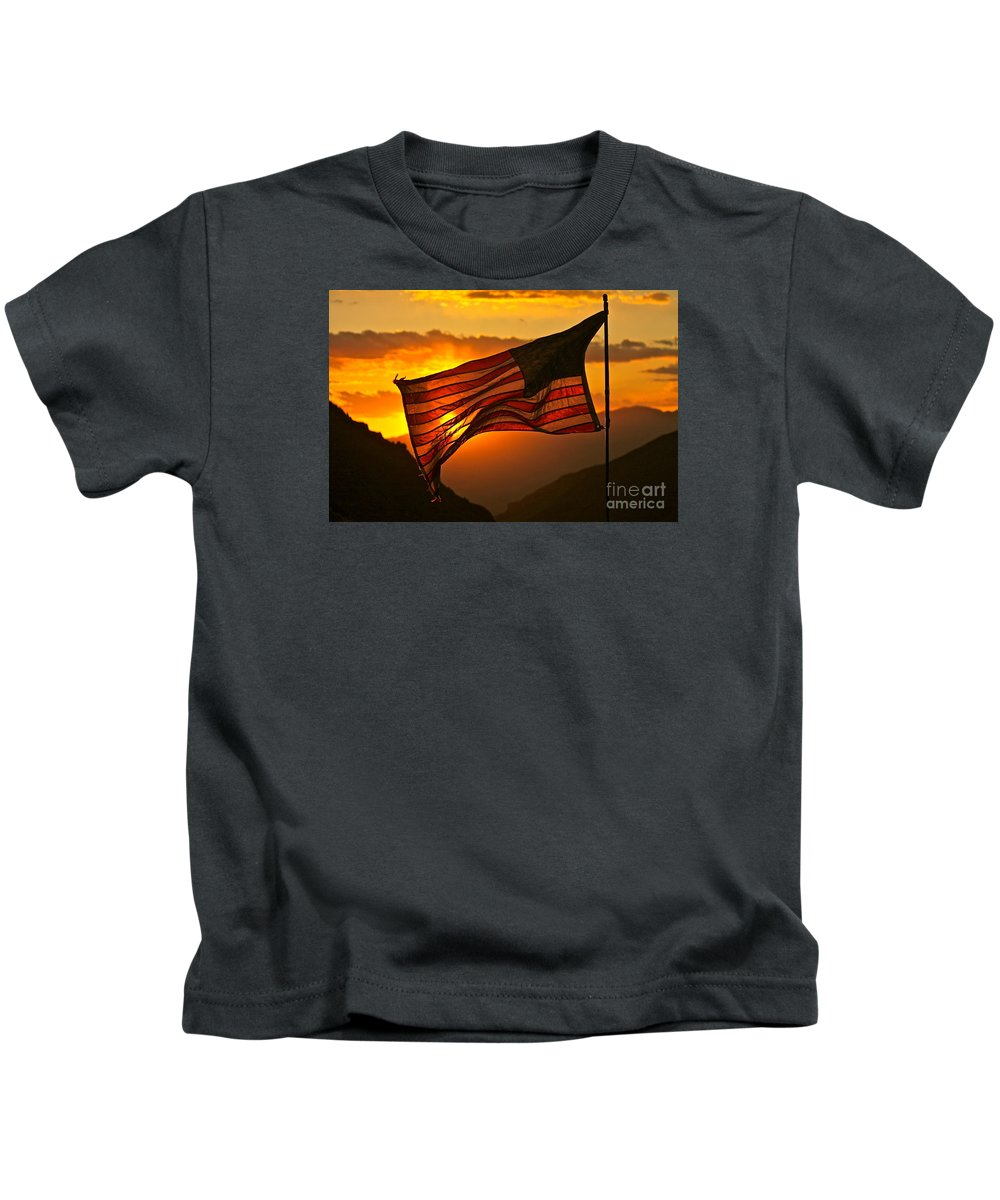 American Flag Kids T-Shirt featuring the photograph Glory At Sunset by Michael Cinnamond