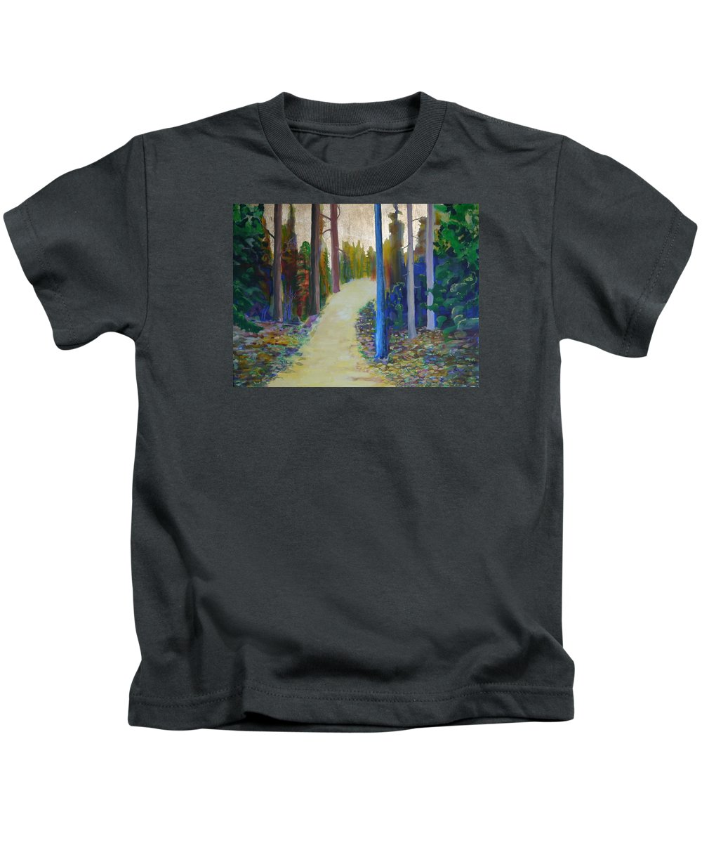 Landscape Kids T-Shirt featuring the painting Glow of Spring by Jarle Rosseland
