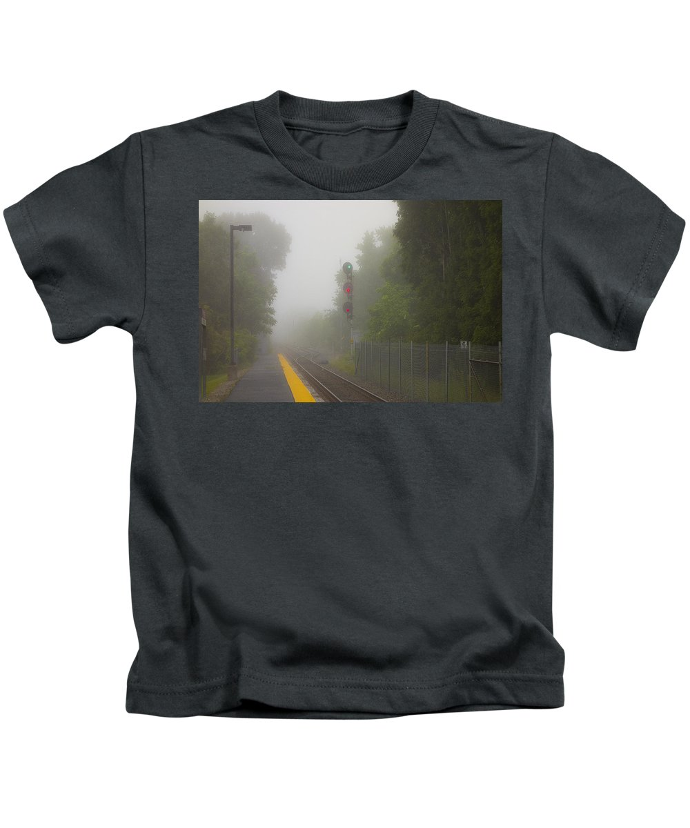 Railroad Lights Kids T-Shirt featuring the photograph Go Stop Stop by David Stone
