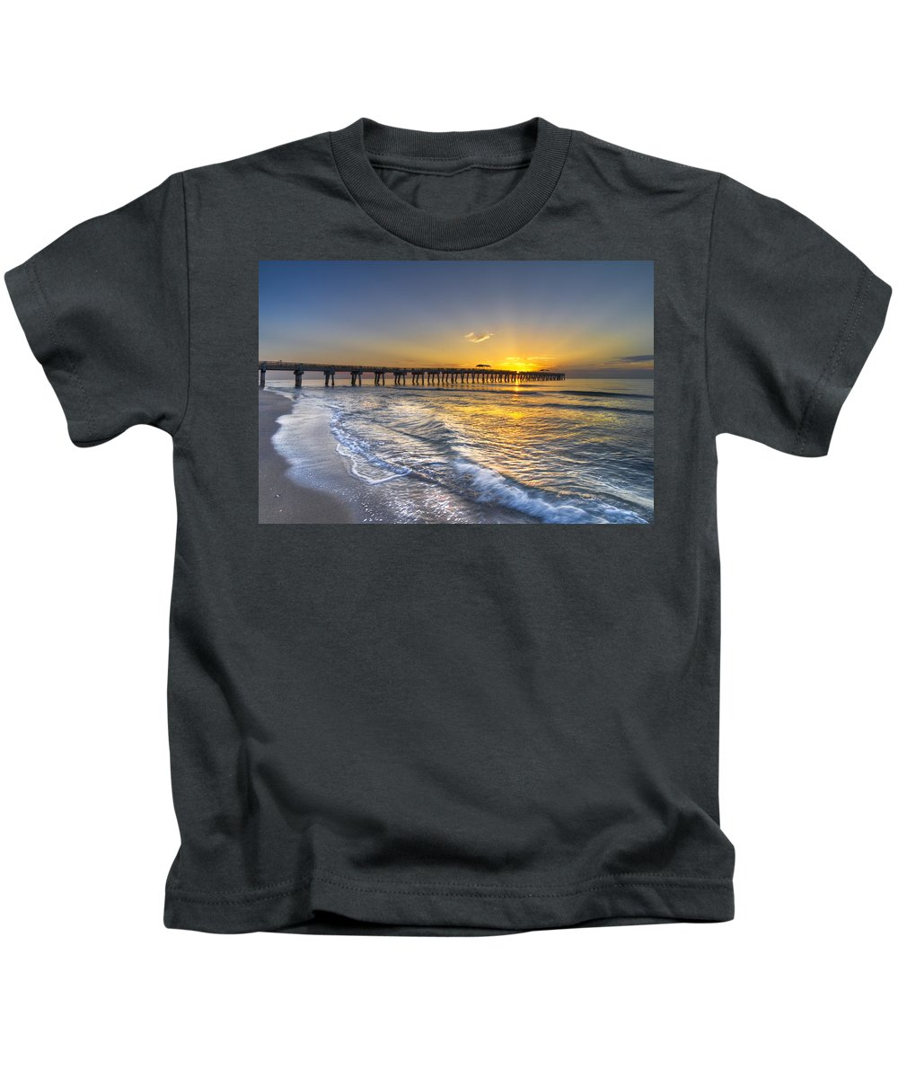 Clouds Kids T-Shirt featuring the photograph God's Glory by Debra and Dave Vanderlaan