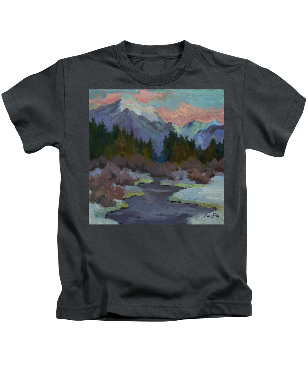 Gold Creek Kids T-Shirt featuring the painting Gold Creek Snoqualmie Pass by Diane McClary