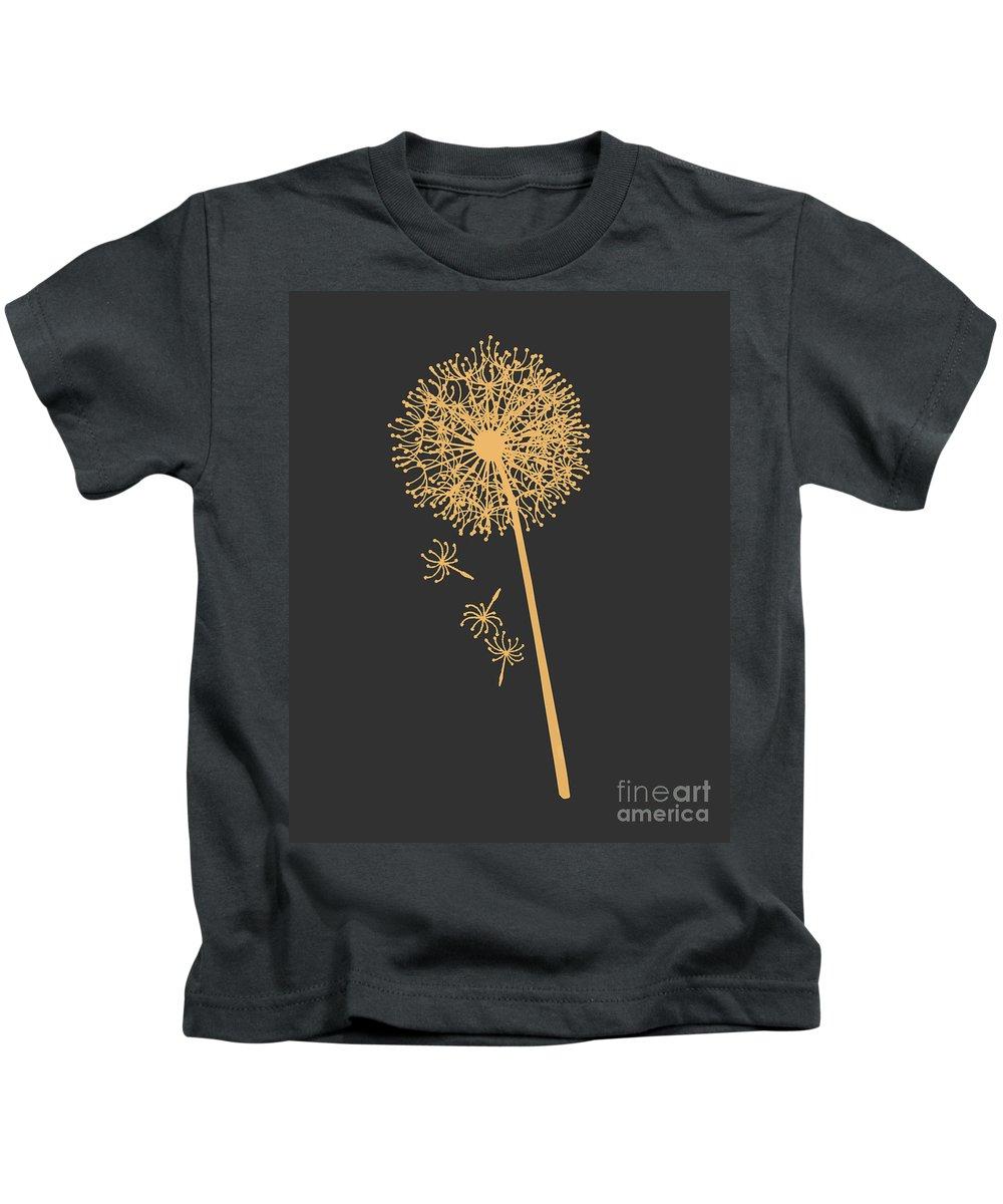Dandelion Kids T-Shirt featuring the digital art Gold Dandelion by Voros Edit