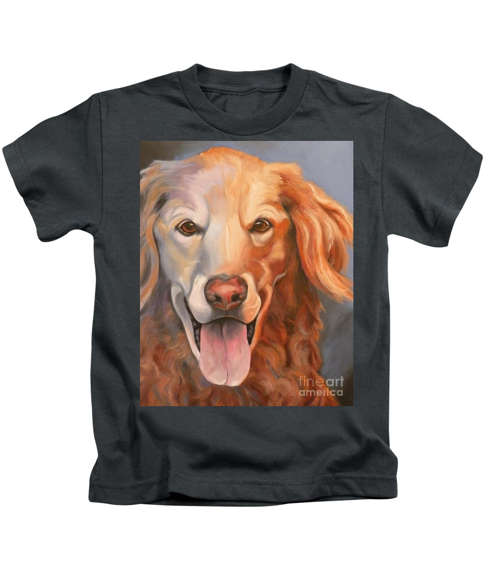 Dogs Kids T-Shirt featuring the painting Golden Retriever Till There Was You by Susan A Becker