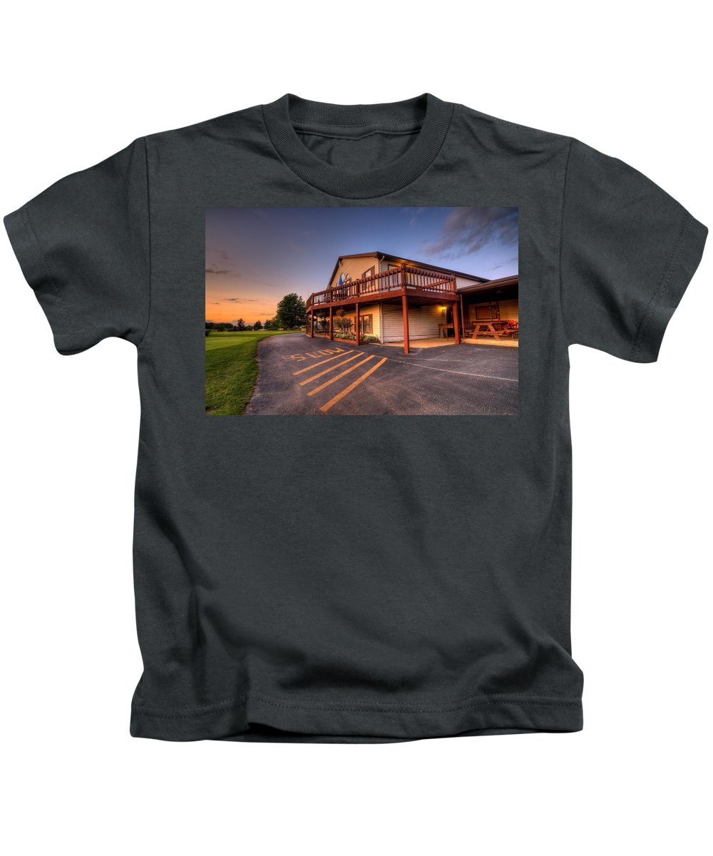 Golf Kids T-Shirt featuring the photograph Golf Course Sunset In Salem Ohio by David Dufresne