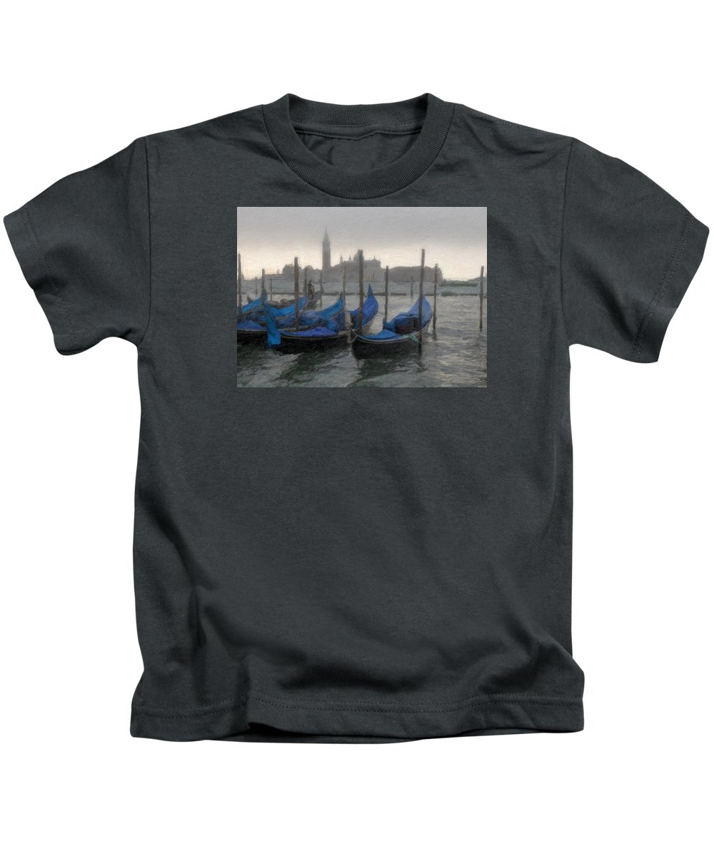 Gondolas Kids T-Shirt featuring the photograph Gondolas On Grand Canal by Carrie Kouri