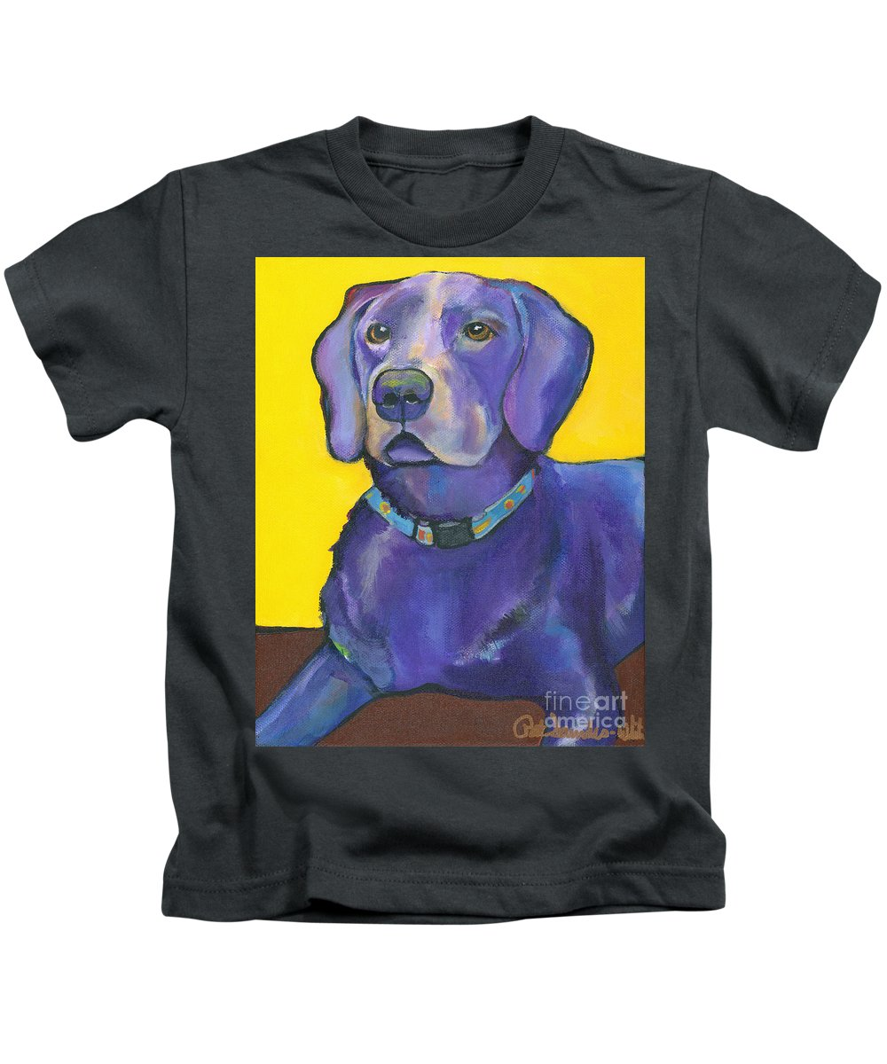 Pat Saunders-white Kids T-Shirt featuring the painting Goose by Pat Saunders-White