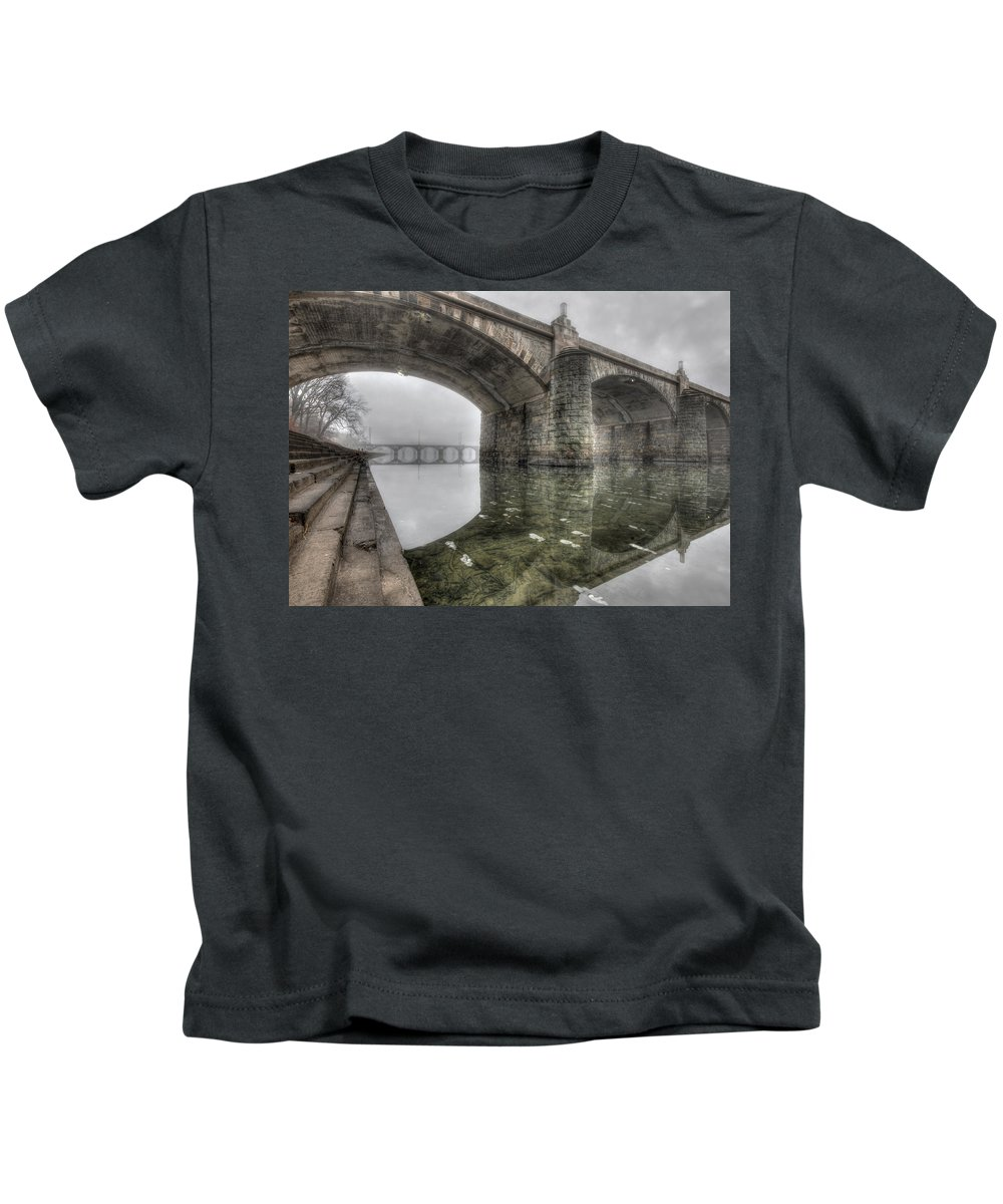 Market Street Bridge Kids T-Shirt featuring the photograph Gothic Morning by Lori Deiter