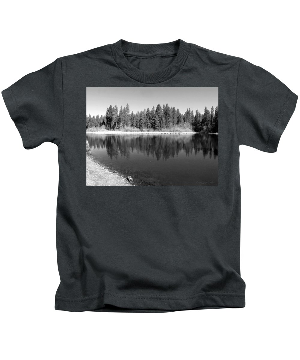 Reflections Kids T-Shirt featuring the photograph Grace Lake Reflections In Black And White by Joyce Dickens