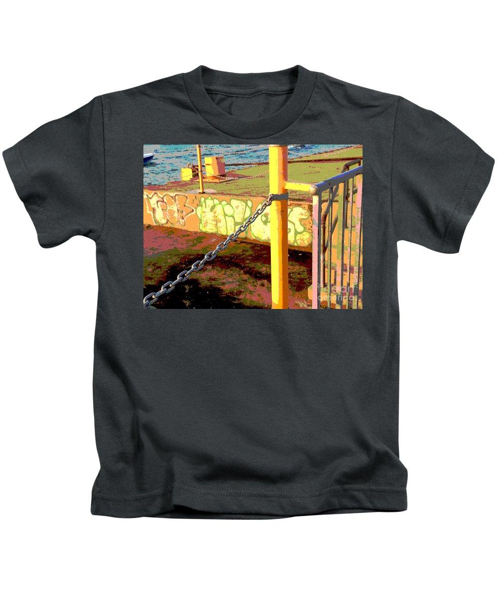 Graffiti Kids T-Shirt featuring the photograph Graffiti Dock by Anne Cameron Cutri