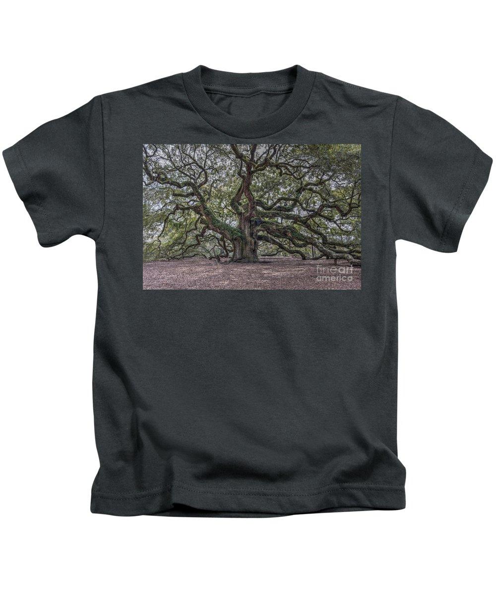 Angel Oak Tree Kids T-Shirt featuring the photograph Grand Angel Oak Tree by Dale Powell