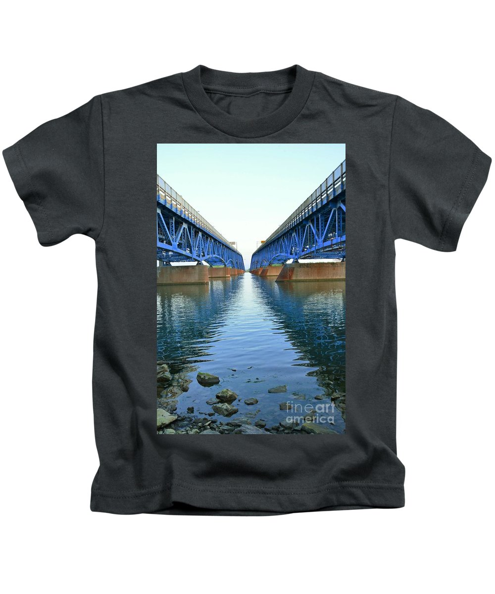 Grand Kids T-Shirt featuring the photograph Grand Island Bridges by Kathleen Struckle