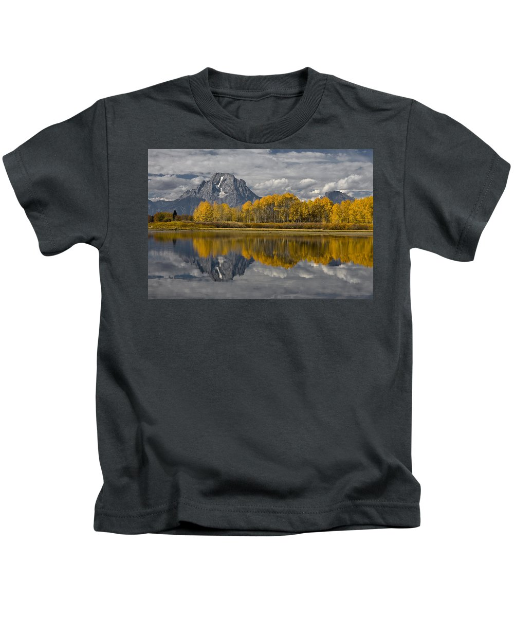 Grand Teton Gold Kids T-Shirt featuring the photograph Grand Teton Gold by Wes and Dotty Weber