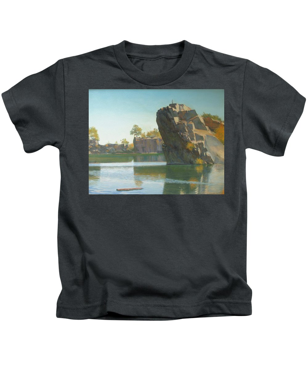 Quarry Kids T-Shirt featuring the painting Granite Rail Quarry by Dianne Panarelli Miller