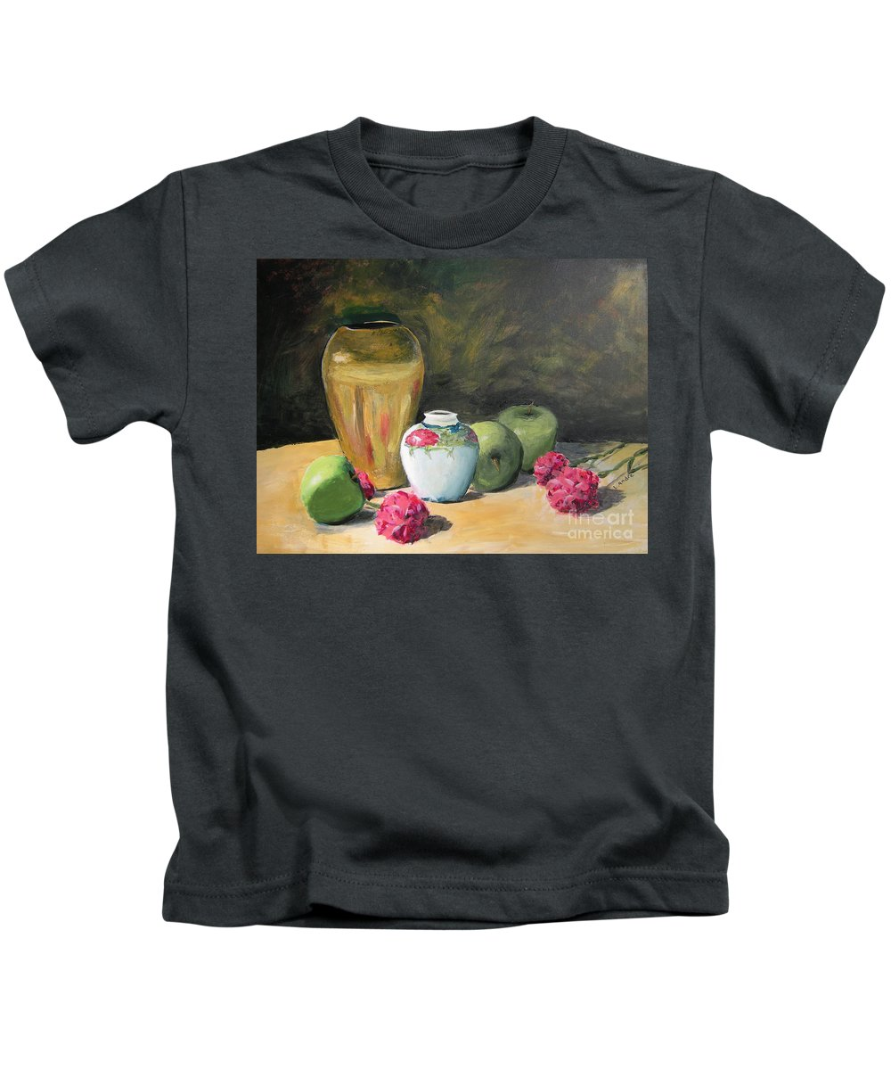Still Life Kids T-Shirt featuring the painting Granny's Apples by Lilibeth Andre