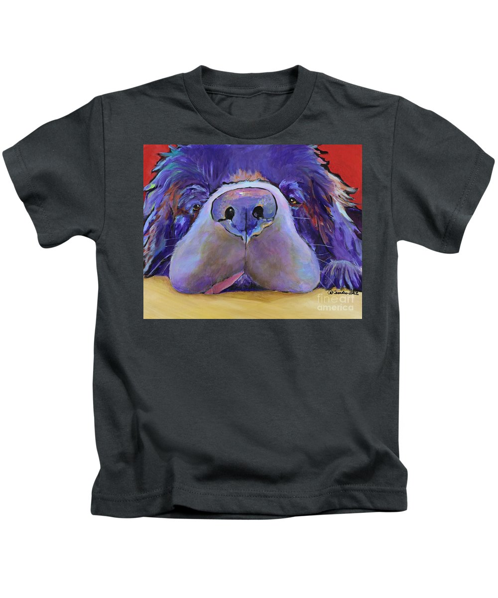 Pat Saunders-white Canvas Prints Kids T-Shirt featuring the painting Graysea by Pat Saunders-White