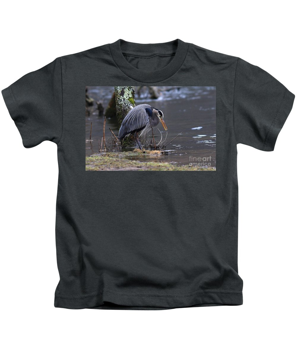 Kids T-Shirt featuring the photograph Great Blue On The Clinch River II by Douglas Stucky