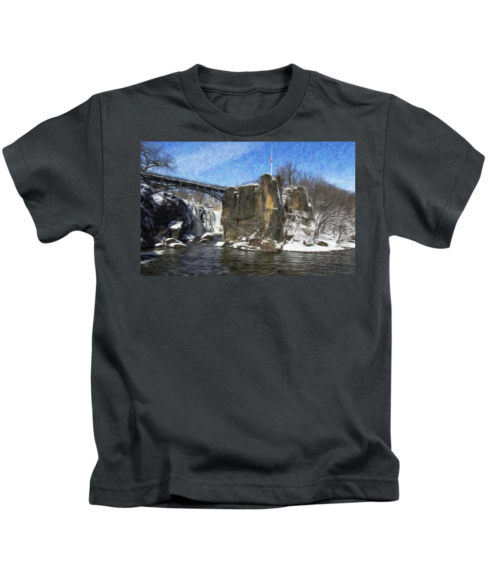 Paterson Kids T-Shirt featuring the photograph Great Falls Painted by Jorge Perez - BlueBeardImagery