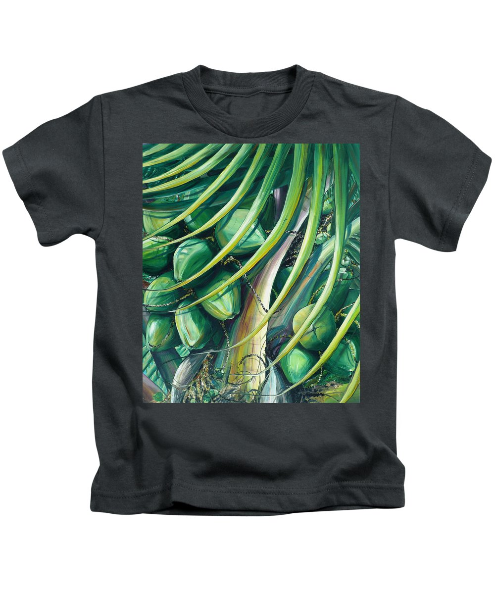 Coconut Painting Caribbean Painting Coconuts Caribbean Tropical Painting Palm Tree Painting  Green Botanical Painting Green Painting Kids T-Shirt featuring the painting Green Coconuts 2 by Karin Dawn Kelshall- Best