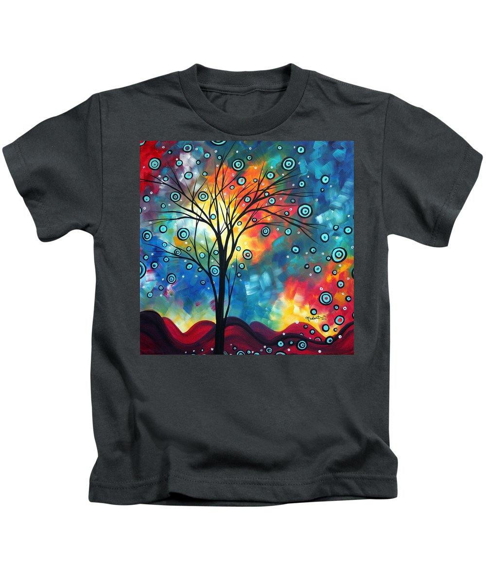 Wall Kids T-Shirt featuring the painting Greeting The Dawn By Madart by Megan Duncanson