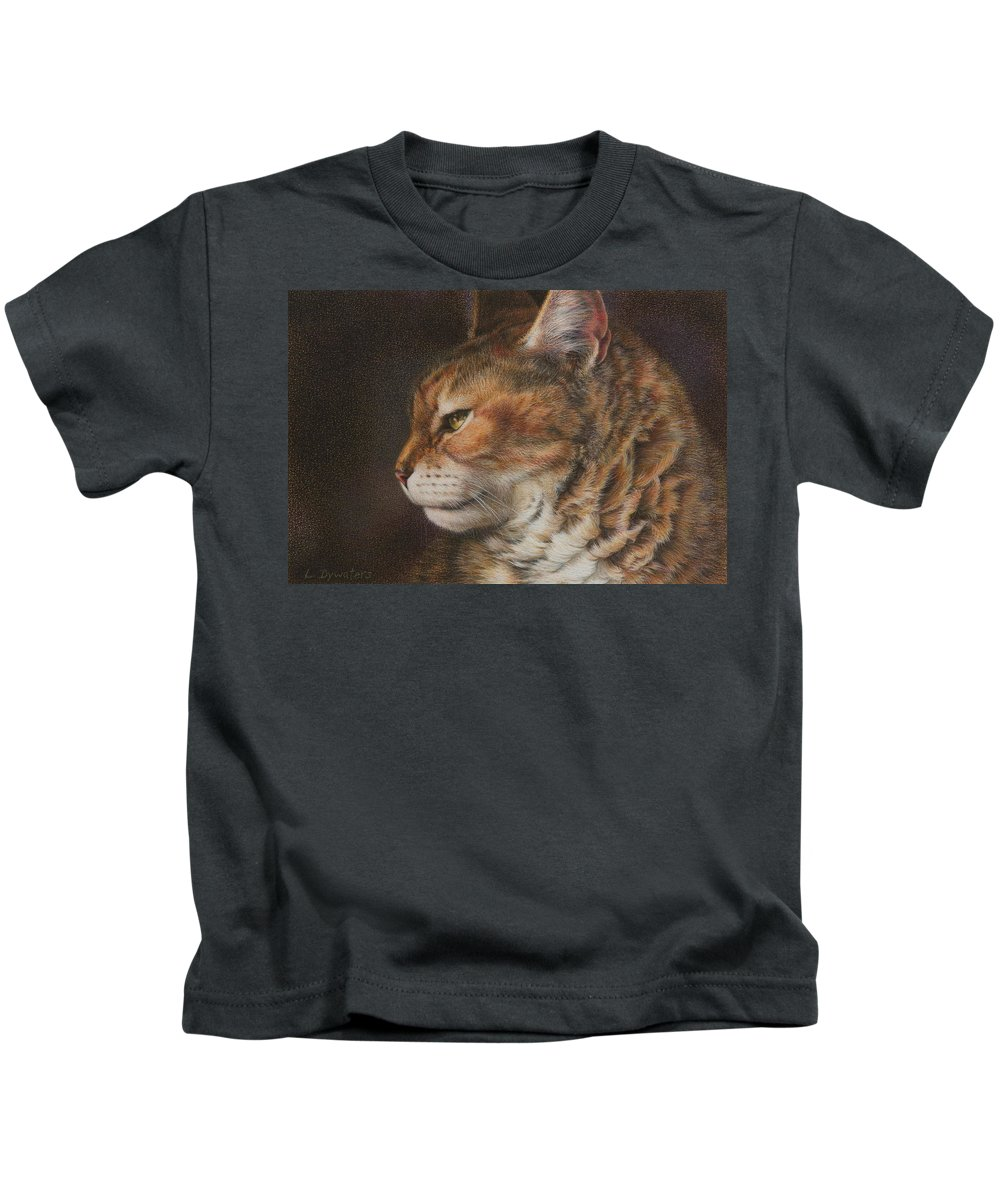 Cat Kids T-Shirt featuring the drawing Grizzly by Lynn Bywaters
