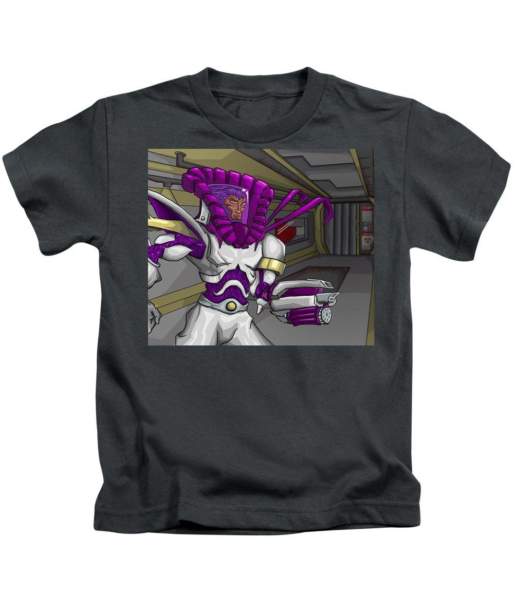 Science Fiction Kids T-Shirt featuring the digital art Gun-armed Man by Jeffrey Oleniacz