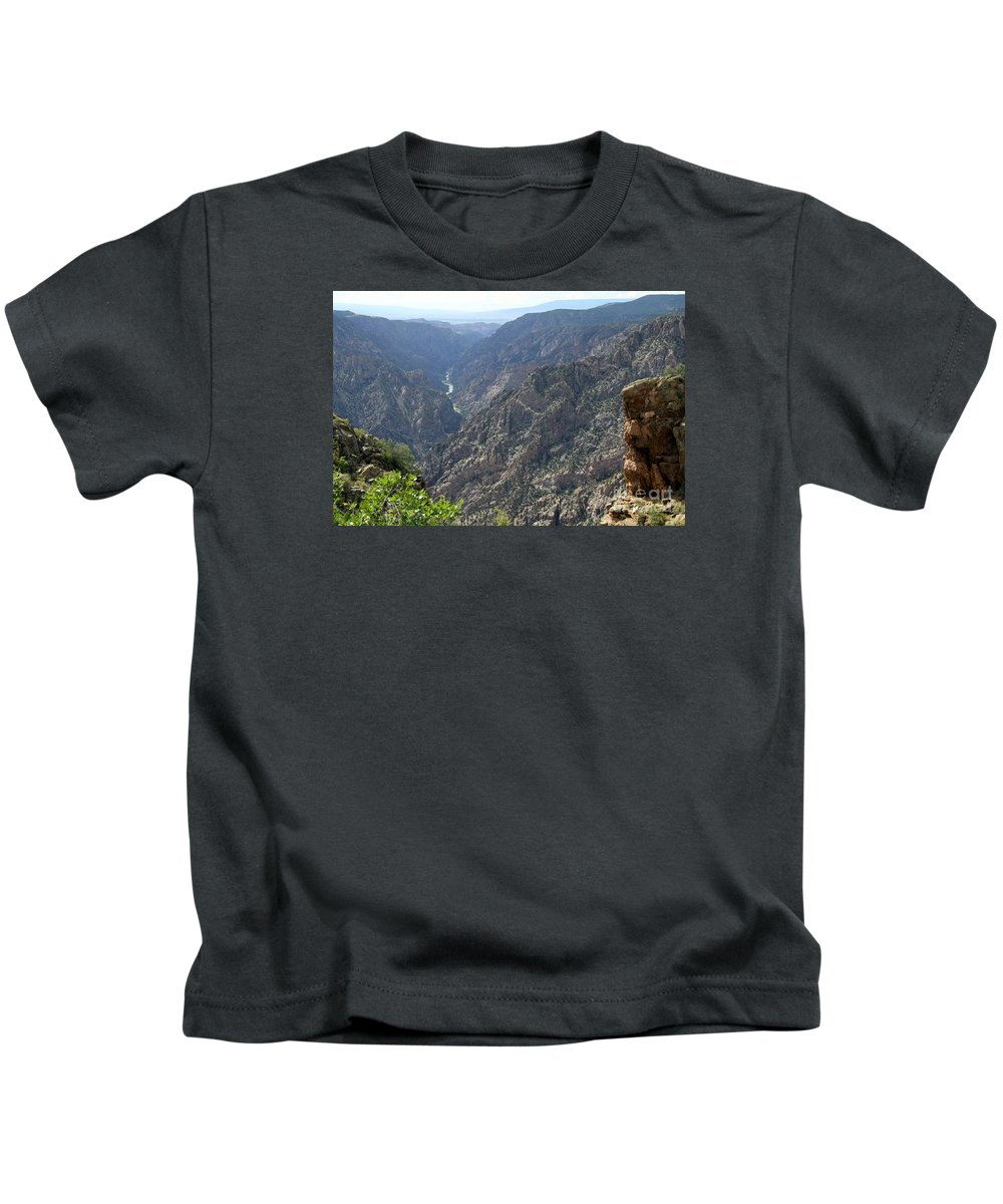 Black Canyon Kids T-Shirt featuring the photograph Gunnison River Winding Through The Mountains by Christiane Schulze Art And Photography