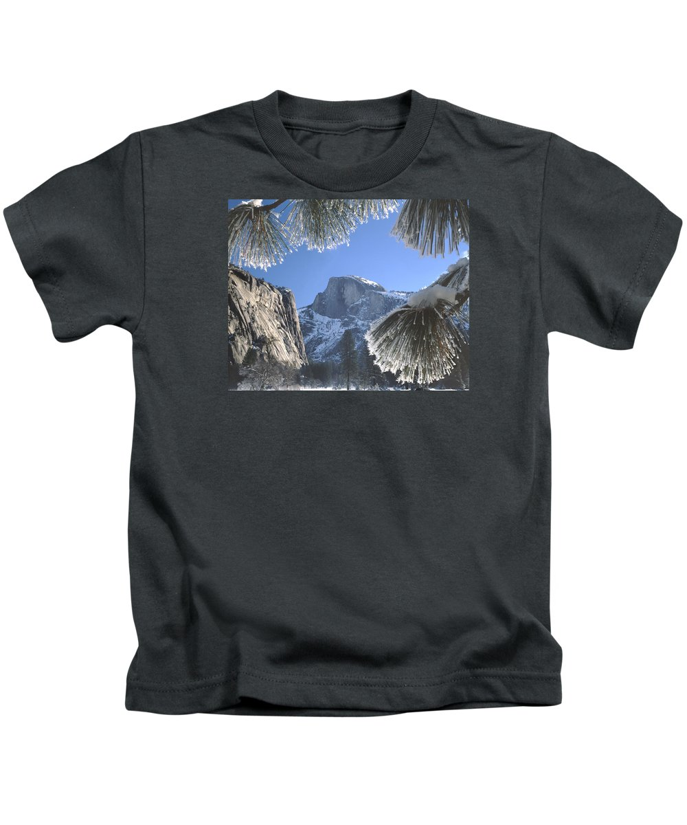 Halfdome Kids T-Shirt featuring the photograph 2m6757-halfdome In Winter by Ed Cooper Photography