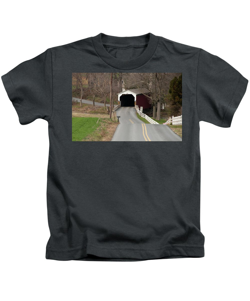 Covered Bridge Kids T-Shirt featuring the photograph Hammer Bridge by David Arment