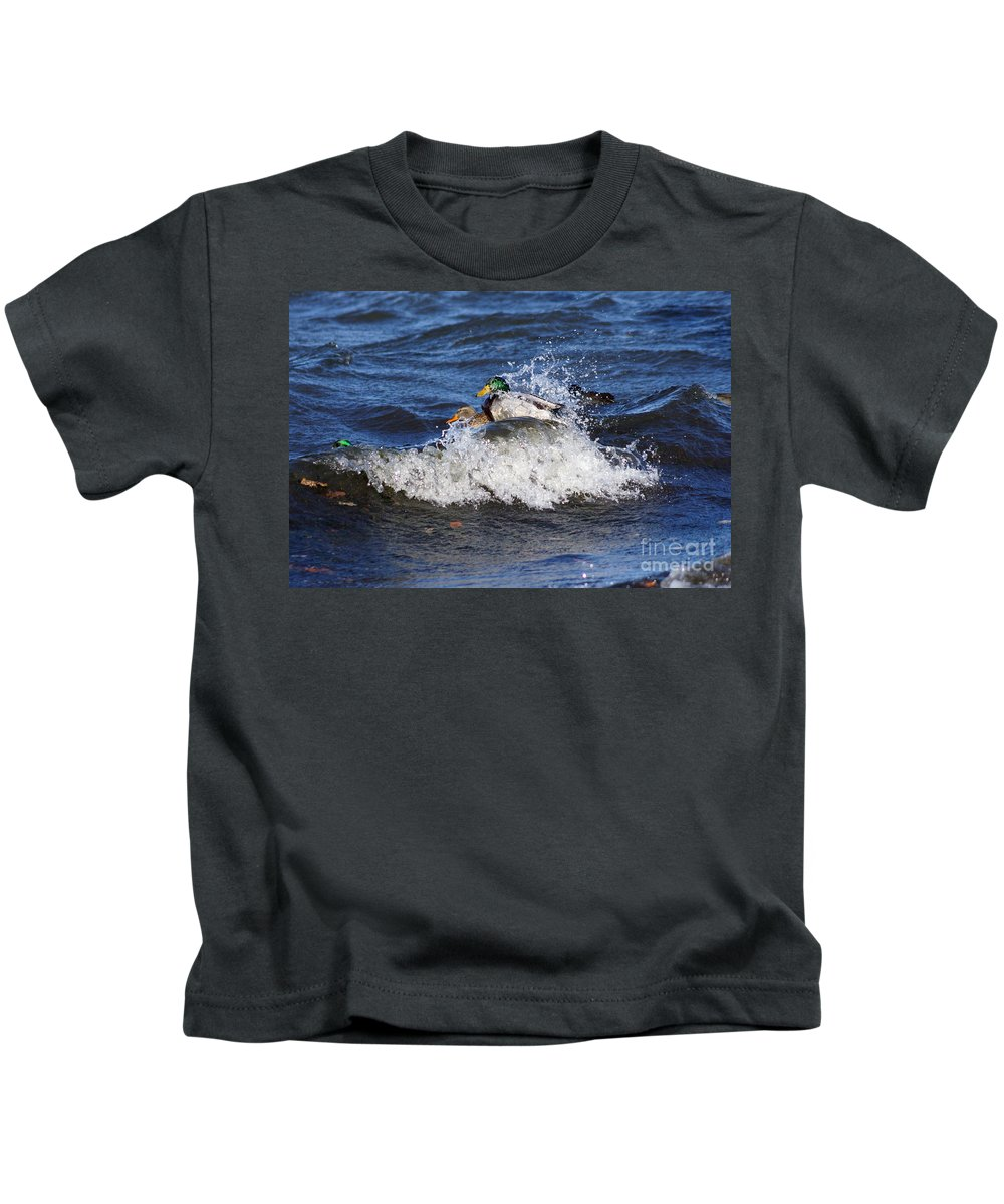 Mallard Kids T-Shirt featuring the photograph Hang 10 by Lori Tordsen