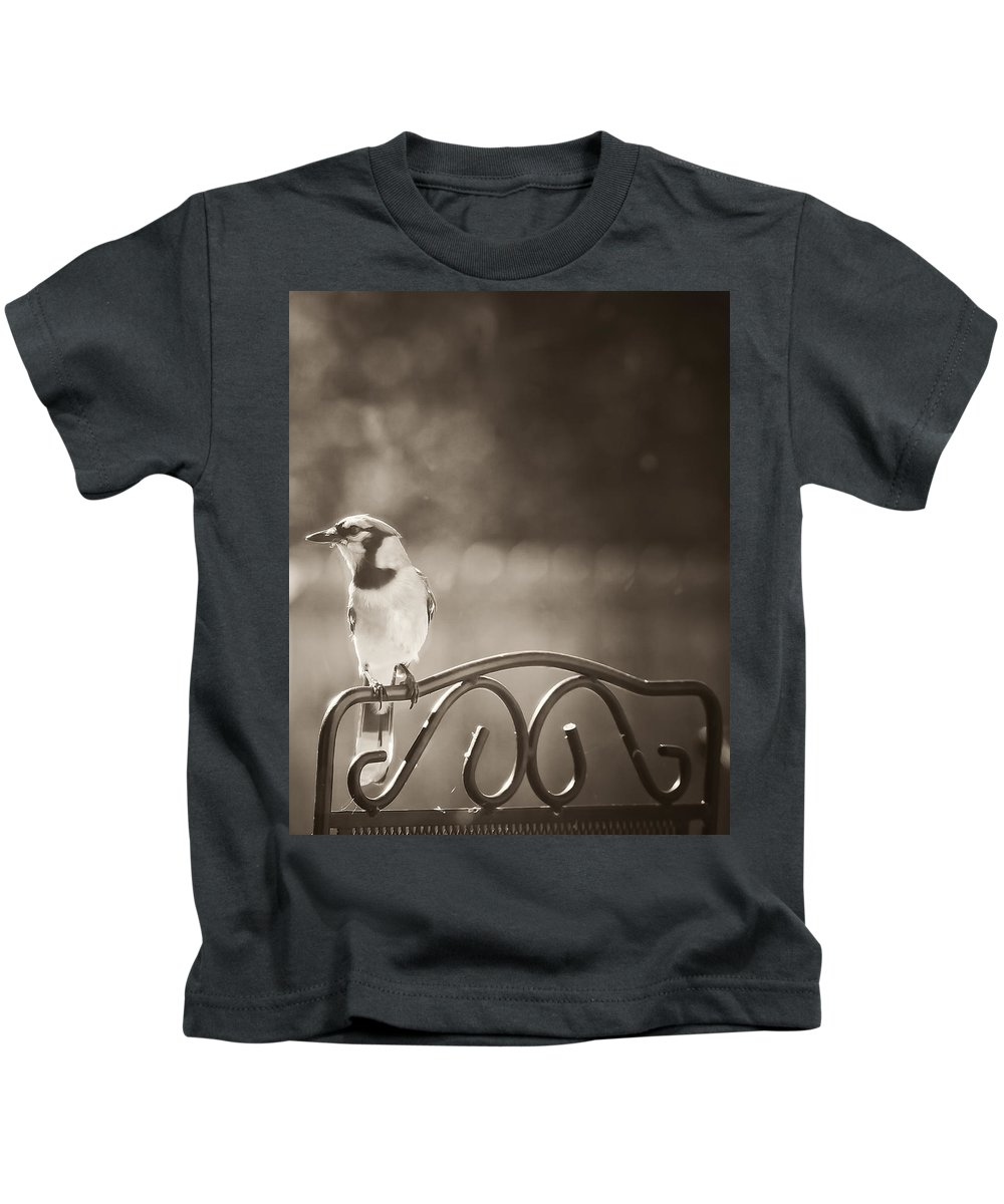 Blue Jay Kids T-Shirt featuring the photograph Hanging Out In The Garden by Kim Henderson