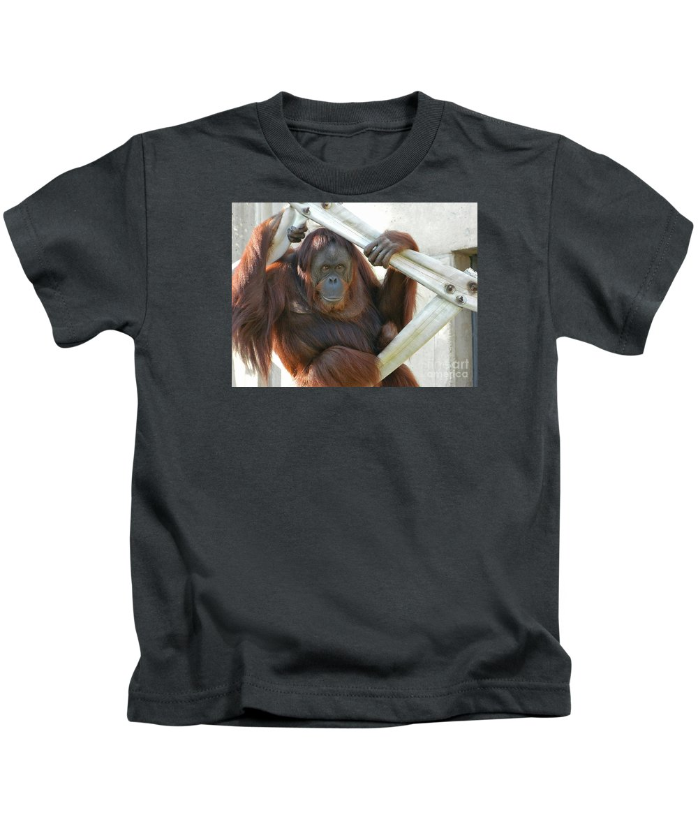Hanging Out - Melati The Orangutan Kids T-Shirt featuring the photograph Hanging Out - Melati The Orangutan by Emmy Vickers